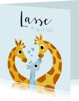 Geburtskarte Giraffenfamilie blau und Foto innen