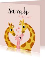 Geburtskarte Giraffenfamilie rosa und Foto innen