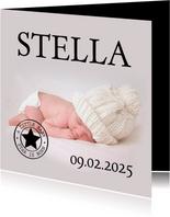Geburtskarte großes Foto Akzente in Schwarz