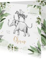 Geburtskarte grün Dschungel Tiere und Konfetti