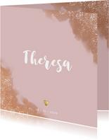 Geburtskarte in Altrosa Wasserfarbe Foto innen