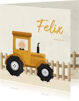 Geburtskarte Junge in Traktor