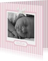Geburtskarte klassische Streifen rosa mit Fotos