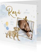 Geburtskarte mit Foto & Löwenjunge
