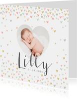 Geburtskarte mit Foto in Herzform & kleinen Herzchen