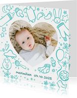 Geburtskarte mit Foto und Zeichnung - Farbe wählbar