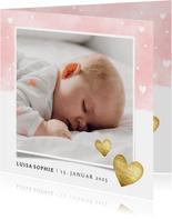 Geburtskarte mit Fotos Auqarelloptik mit Herzen rosa