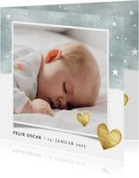 Geburtskarte mit Fotos Auqarelloptik mit Sternen blau