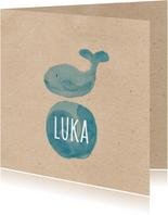 Geburtskarte mit kleinem Wal Aquarell