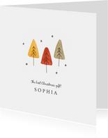 Geburtskarte mit Tannenbäumen Foto innen