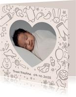 Geburtskarte mit Zeichnung und Foto - Farbe anpassbar