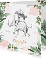 Geburtskarte rosa Dschungel Tiere und Konfetti