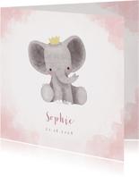 Geburtskarte rosa niedlicher Elefant Foto innen