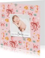 Geburtskarte rosa Unterwasserwelt mit Foto