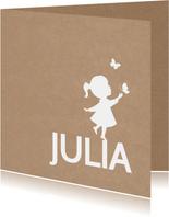 Geburtskarte Silhouette Kraftpapier Mädchen
