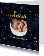 Geburtskarte Sternenhimmel mit Foto