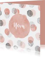 Geburtskarte Tupfen Wasserfarbe rosa Foto innen