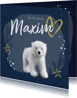 Geburtskarte winterlich kleiner Eisbär