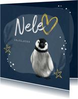 Geburtskarte winterlich kleiner Pinguin