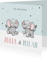 Geburtskarte Zwilling Elefanten hellblau