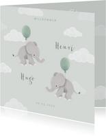 Geburtskarte Zwilling Elefanten, Luftballons & Wolken