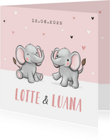 Geburtskarte Zwilling Elefanten rosa