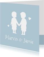 Geburtskarte Zwillinge Jungen Scherenschnitt blau