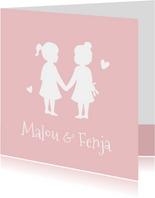 Geburtskarte Zwillinge Mädchen Scherenschnitt rosa
