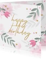 Geburtstags-Glückwunschkarte mit rosa Tulpen