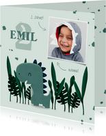 Geburtstagseinladung Dinosaurier-Junge mit Foto