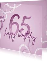 Geburtstagskarte 65. Geburtstag lila Ornamente