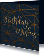 Geburtstagskarte Birthday geometrisch dunkelblau