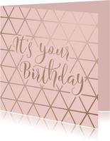 Geburtstagskarte Birthday geometrisch rosa