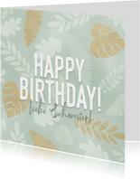Geburtstagskarte Blätter in Pastell