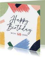 Geburtstagskarte bunte Pinselstriche