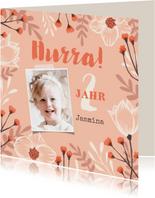Geburtstagskarte eigenes Foto und Blumenrahmen