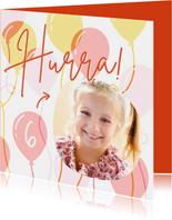Geburtstagskarte Foto & Luftballons orange