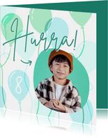 Geburtstagskarte Foto & Luftballons grün