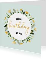 Geburtstagskarte gelbe Blumen