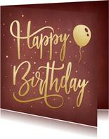 Geburtstagskarte Goldschrift 'Happy Birthday'