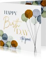 Geburtstagskarte 'Happy Birthday' Luftballons