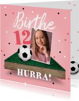 Geburtstagskarte Mädchen Fußball mit Foto