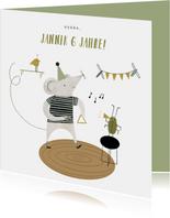 Geburtstagskarte Musik mit Maus und Käfer