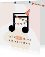 Geburtstagskarte Musiknote mit Partyhut rosa