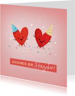 Geburtstagskarte Party-Herzchen
