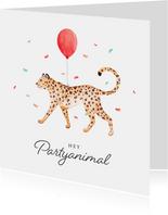 Geburtstagskarte Partyanimal Leopard
