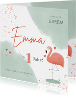 Geburtstagskarte pastell mit Flamingo