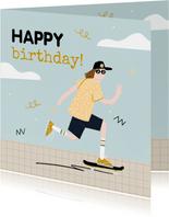 Geburtstagskarte Skateboard fahren