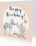 Geburtstagskarte Zebra und Elefant