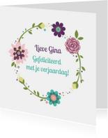 Verjaardagskaarten - Gefeliciteerd bloemenillustratie